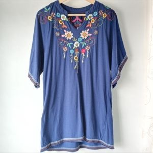 Johnny Was S Flower Embroidered Tunic Tee Dress